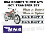 BSA A75 Rocket Three Transfer Decal Sets